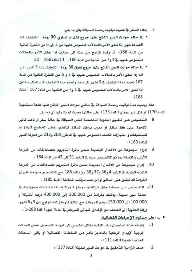 منشور حول صدور القانون القاضي بتغيير وتتميم القانون المتعلق بمدونة السير على الطرق - 2016/8/25