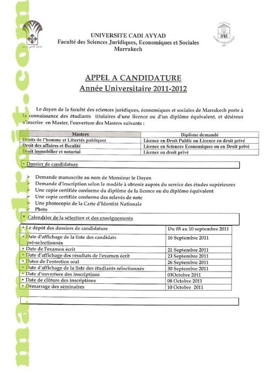 كلية الحقوق بمراكش: وضع ملف الترشيح للتسجيل بالماستر - القانون العام و الخاص - 2012/2011