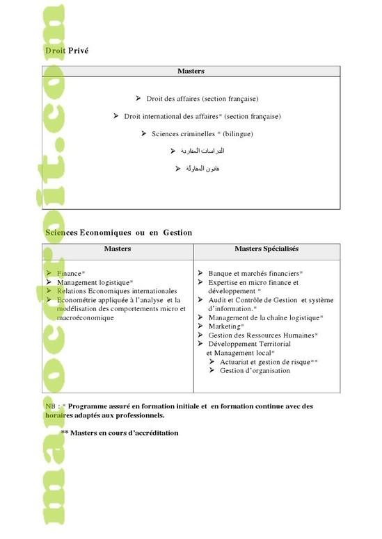 كلية الحقوق بالدار البيضاء: وضع ملف الترشيح للتسجيل بالماستر - القانون العام أو الخاص - 2012/2011