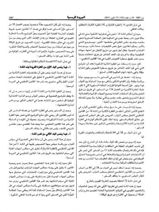 قرار المجلس الدستوري القاضي بعدم دستورية بعض بنود القانون التنظيمي لمجلس النواب