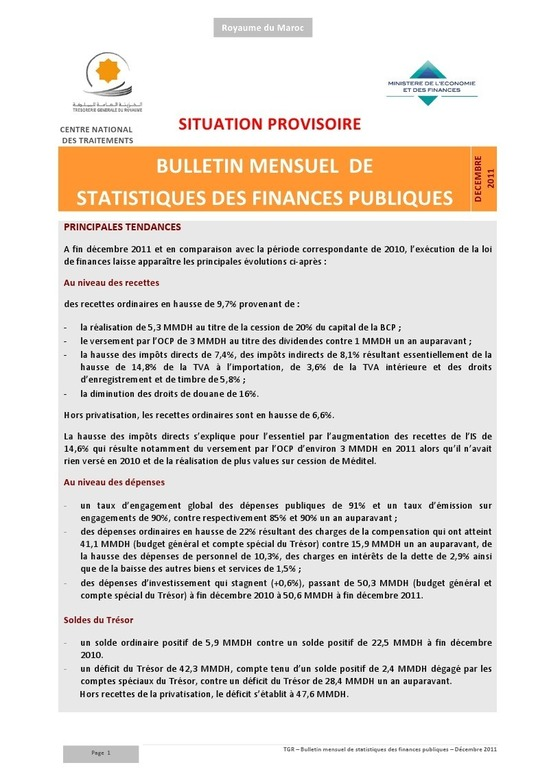 Bulletin Mensuel de Statistiques des Finances Publiques - Décembre 2011
