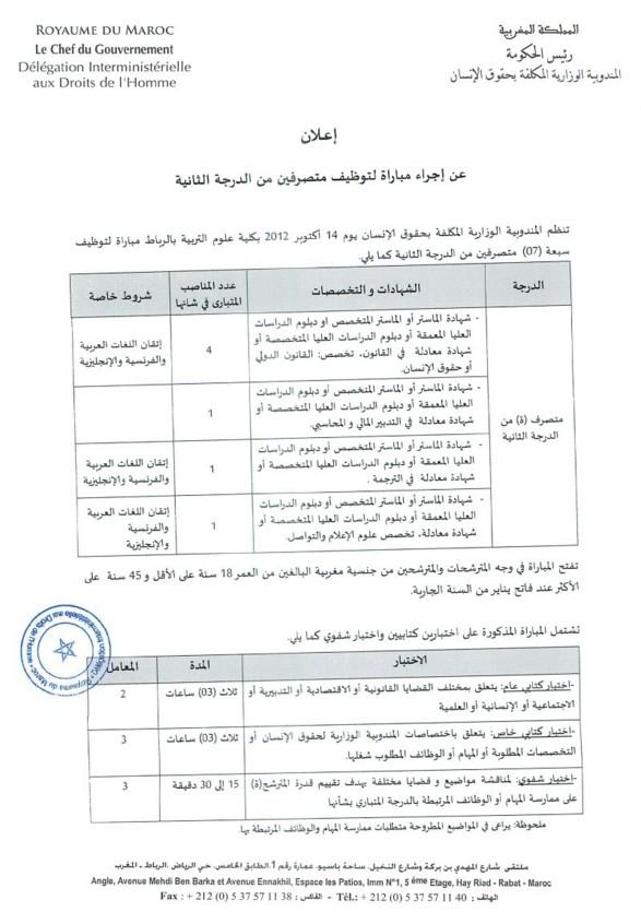 المندوبية الوزارية المكلفة بحقوق الإنسان: مباراة لتوظيف سبعة (07) متصرفين من الدرجة الثانية