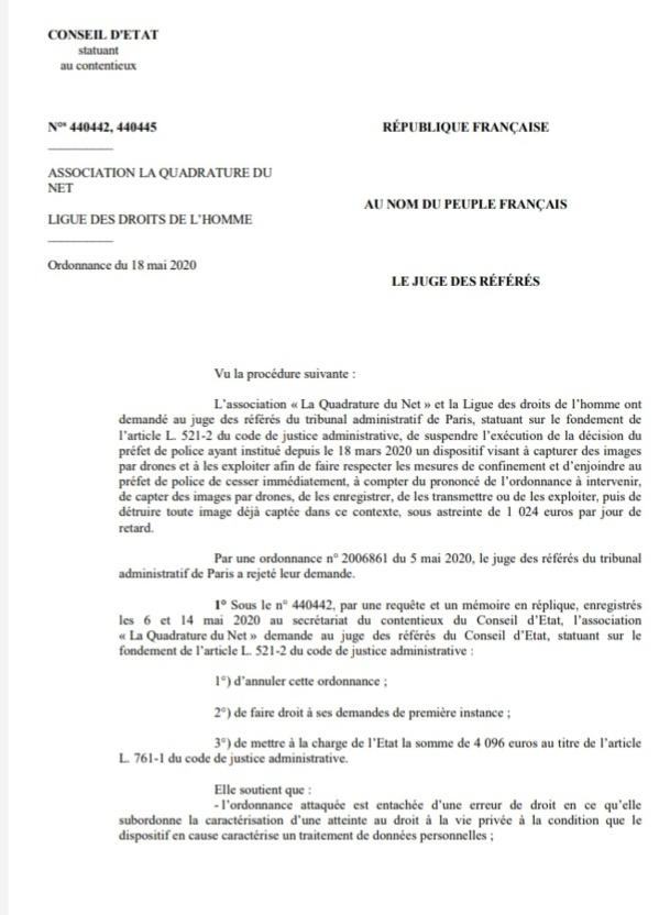 """""""نسخة كاملة من الأمر الاستعجالي الصادر عن مجلس الدولة الفرنسي بخصوص ايقاف مراقبة خرق حالة الطوارئ الصحية بإستعمال الطائرات المسيرة """"درون ََََ"""