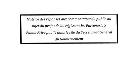 À propos du projet de loi régissant les Partenariats Public-Privé publié