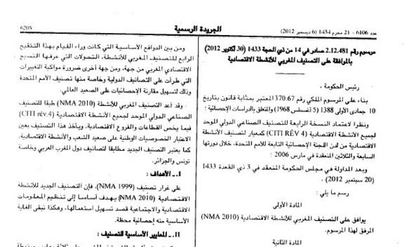 مرسوم صادر بالموافقة على التصنيف المغربي للأنشطة الاقتصادية