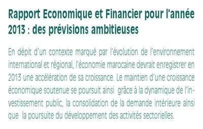 Rapport Economique et Financier pour l'année 2013