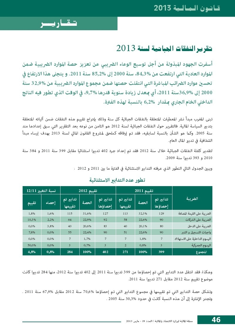تقرير النفقات الجبائية لسنة 2013
