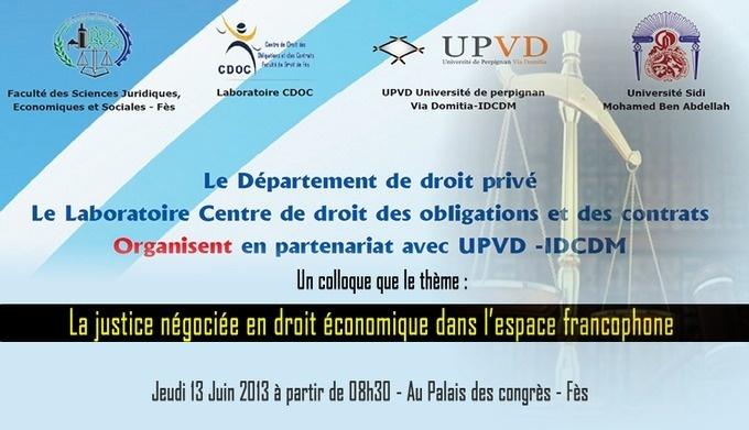 programme du colloque: La justice négociée en droit économique dans l'espace francophone