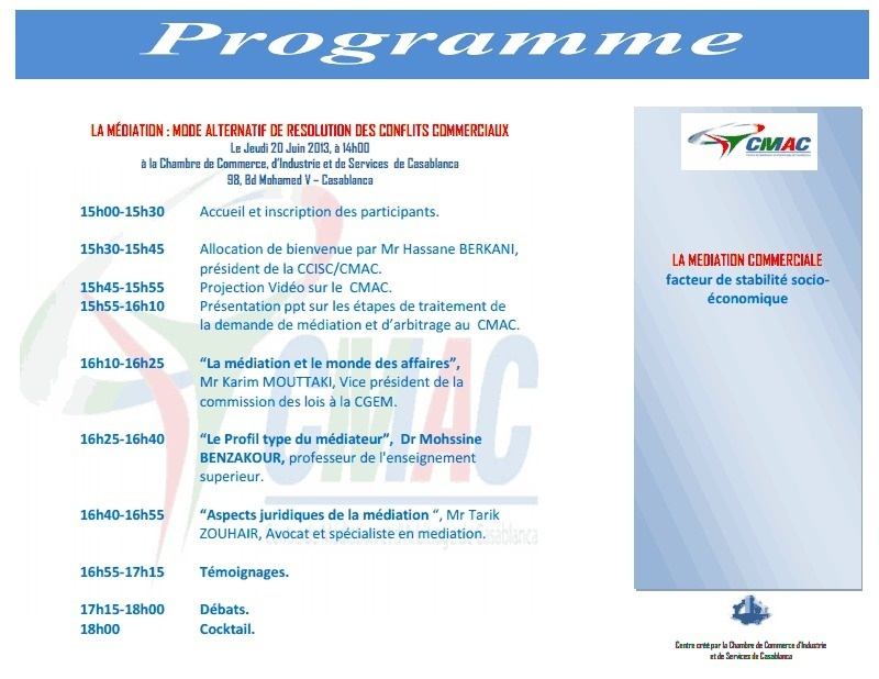 Une conférence débat sous le thème : LA MÉDIATION : MODE ALTERNATIF DE RESOLUTION DES CONFLITS COMMERCIAUX