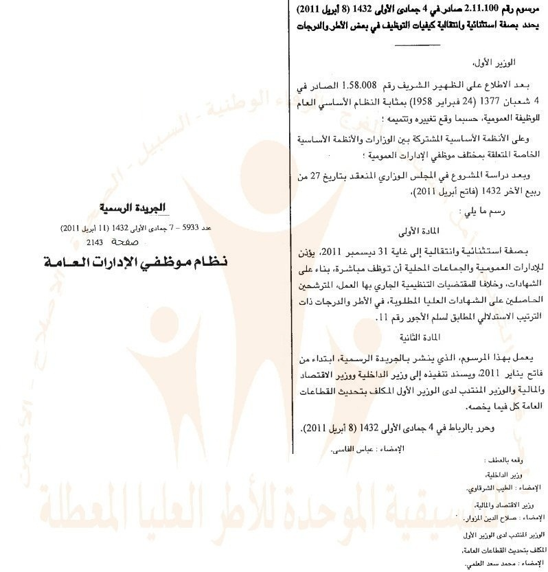 ملف توثيقي حول مرسوم التوظيف المباشر و محضر 20 يوليوز 2011