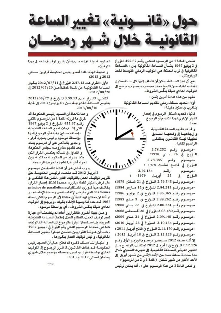 حول قانونية تغيير الساعة القانونية خلال شهر رمضان بقلم الاستاذ رضى بلحسين