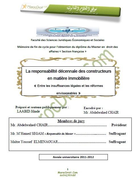 Garantie décennale obligatoire maroc