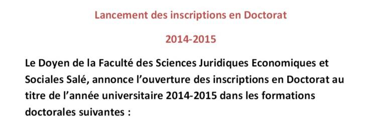 كلية العلوم القانونية و الاقتصادية و الاجتماعية بسلا: إعلان عن فتح الترشيح للتسجيل بالدكتوراه  برسم السنة الجامعية 2015/2014