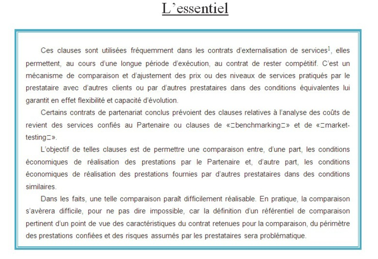 La clause « benchmarking ou market- testing» dans les contrats