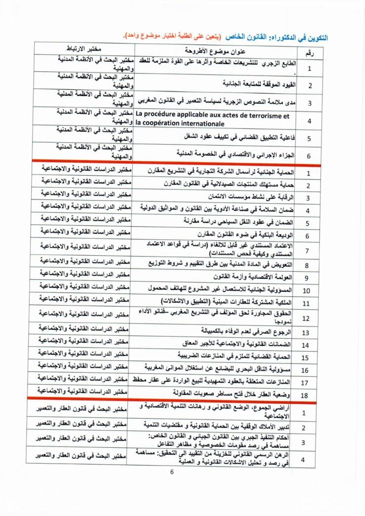 كلية الحقوق بوجدة: إعلان عن فتح باب الترشيحات لدراسات الدكتوراه برسم السنة الجامعية 2015-2016