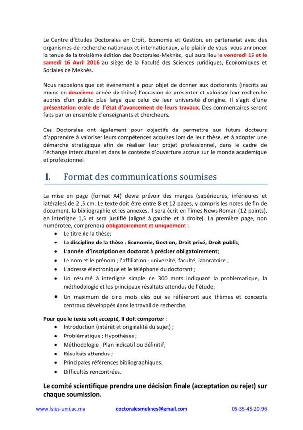 La 3ème  Édition des Doctorales-Meknès En Sciences Juridiques, Economiques et de Gestion  Le vendredi 15 et le samedi 16 Avril 2016