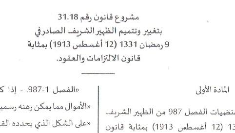 مشروع قانون تعديلي لمقتضيات الفصل 987 من قانون الإلتزمات والعقود المغربي - للتحميل