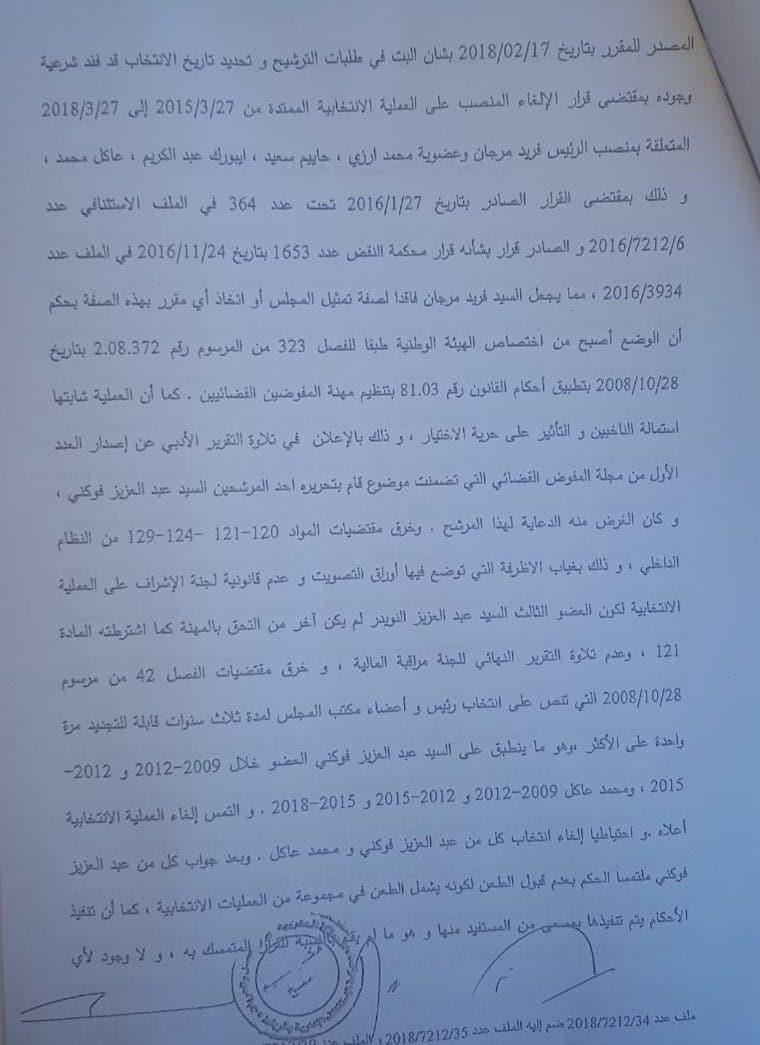 حصريا القرار الإستئنافي الصادر في قضية (فوكني وعاكل) المتعلقة بإنتخابات المجلس الجهوي للمفوضين القضائيين بالدار البيضاء