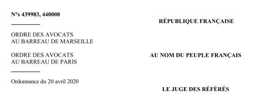 نسخة كاملة من قرار مجلس الدولة الفرنسي القاضي بإلزامية حماية الدولة للمحامين بتوفير الأقنعة والمعقمات أثناء ممارستهم لمهنتهم