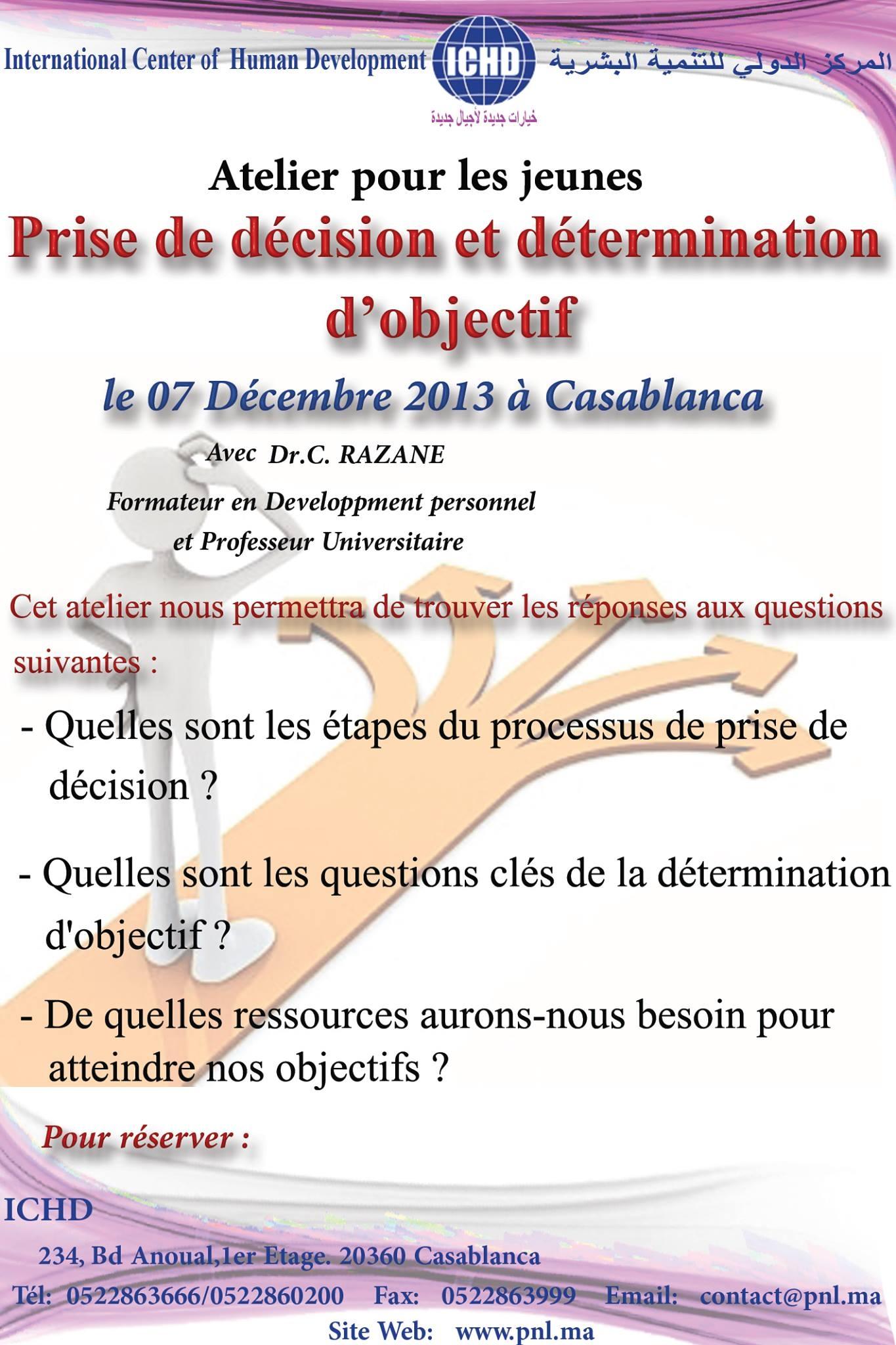 """Atelier pour les jeunes intitulé """"Prise de décision et détermination d'objectif"""""""