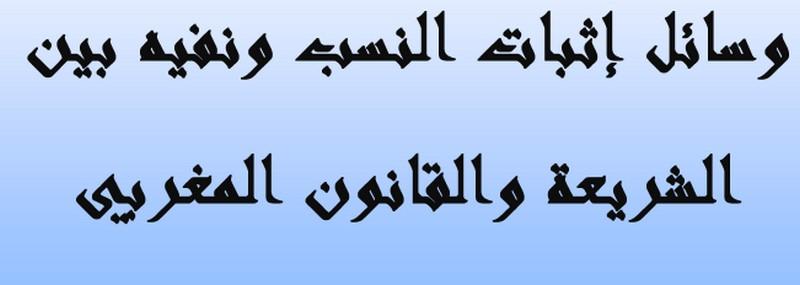 وسائل إثبات النسب ونفيه بين الشريعة والقانون المغربي