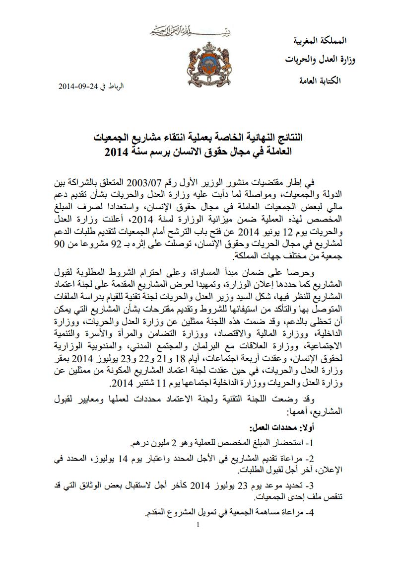 وزارة العدل و الحريات: النتائج النهائية الخاصة بإنتقاء مشاريع الجمعيات العاملة في مجال حقوق الإنسان