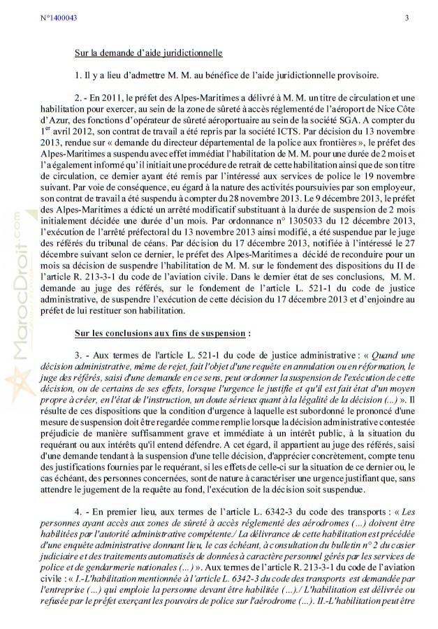 أمر المحكمة الإدارية بنيس في قضية ضابط الأمن بمطار نيس الذي ألقى تحية ( السلام عليكم ) باللغة العربية.