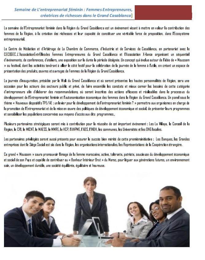 LA SEMAINE DE L'ENTREPRENEURIAT FÉMININ du 05 au 08 mars 2015 au siège de la CCIS de Casablanca