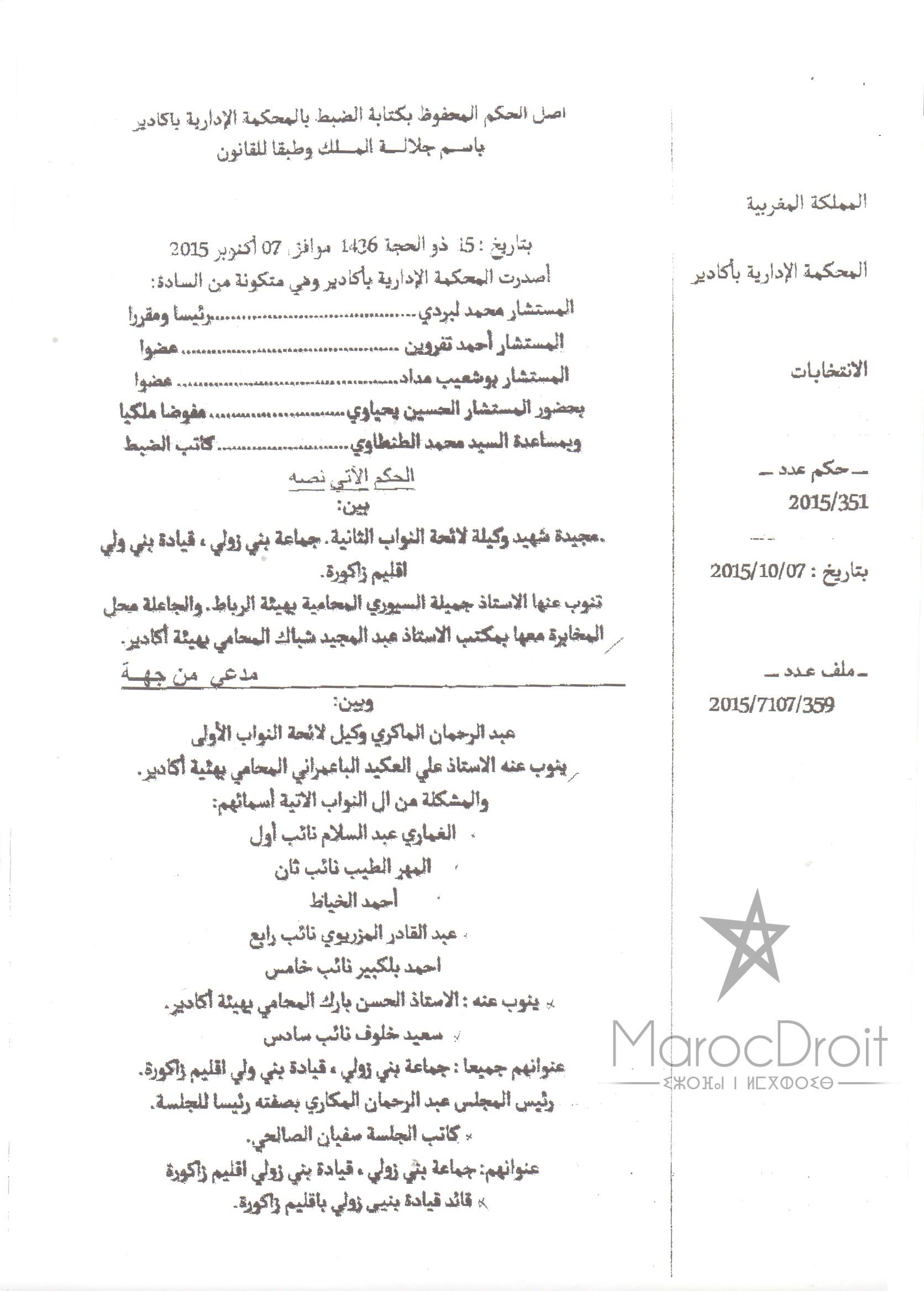 حكم المحكمة الإدارية بأكادير القاضي بإبطال عملية إنتخاب نواب رئيس المجلس الجماعي لبني زولي - إقليم زاكورة