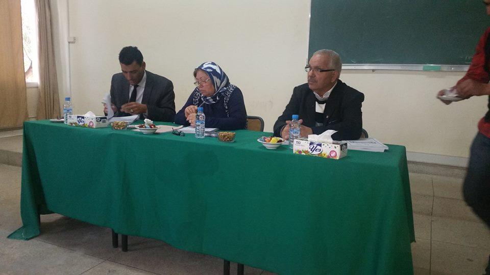 مناقشة رسالة في موضوع وضعية الأجيرة في العمل النقابي تحت إشراف الدكتورة دنيا مباركة تقدم بها الباحث الحسين أعليلوش